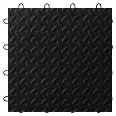 1 ft. x 1 ft. Black Polypropylene Garage Flooring Tile (24-Pack)