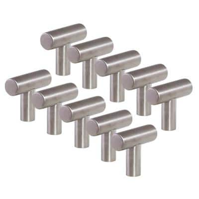 1.5 in. T-Pull Stainless Steel Cabinet Knob (10-Pack)