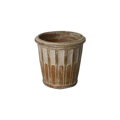 13 in. Wash Walnut Ceramic Round Planter