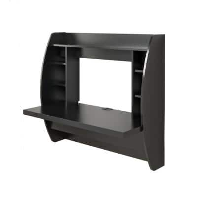 43 in. Rectangular Black Floating Desk with Cable Management