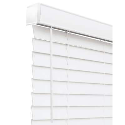 Basic Collection Pre-Cut White Cordless Room Darkening Faux Wood Blind with 2 in. Slats 58 in. W x 48 in. L