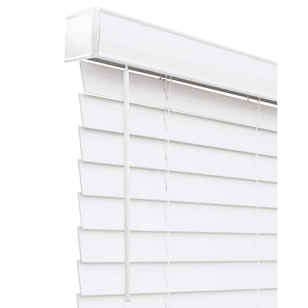 Chicology Basic Collection Pre Cut White Cordless Room Darkening Fauxwood Blind With 2 In Slats 78 In W X 72 In L Cfw Bw 7872 The Home Depot