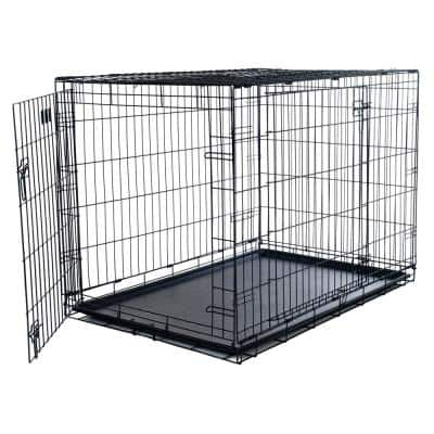 Double Door Folding Dog Crate - Portable Large 42 in. Wire Kennel with Divider Panel and Leak-Proof Plastic Tray