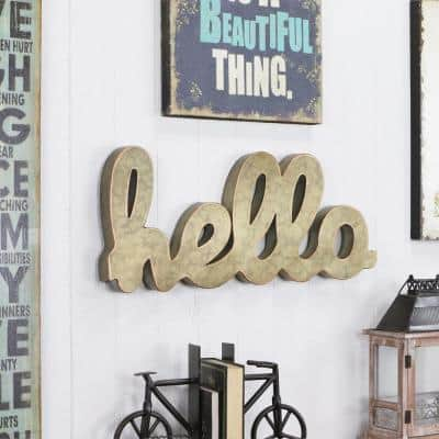 Gold Wall and Table Galvanized Hello Sign