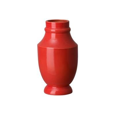 15 in. Bella Shoulder Coral Red Ceramic Vase