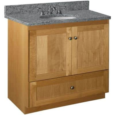 Shaker 36 in. W x 21 in. D x 34.5 in. H Simplicity Vanity with No Side Drawers in Natural Alder