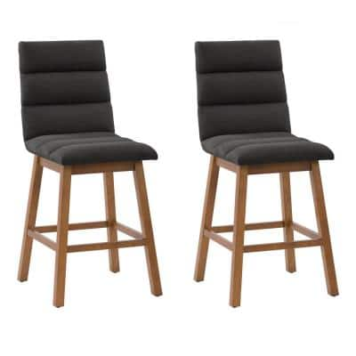 Boston 27 in. Dark Grey Full Back Wood Counter Height Channel Tufted Fabric Barstool (Set of 2)