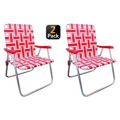 Red/White Aluminum Classic Reinforced Webbed Folding Lawn/Camp Chair (2-Pack)