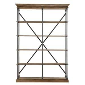 84 in. Vintage Oak Metal 5-shelf Etagere Bookcase