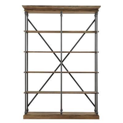 84 in. Vintage Oak Metal 5-shelf Etagere Bookcase