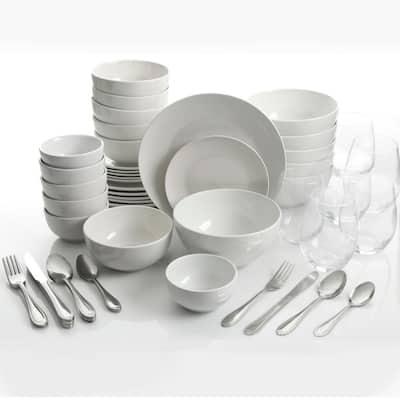 All U Need 60-Piece White Ceramic Dinnerware Combo Set with Drinkware and Flatware