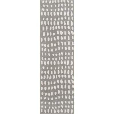 Delmar Boho Dots Grey 2 ft. 3 in. x 8 ft. Runner Rug