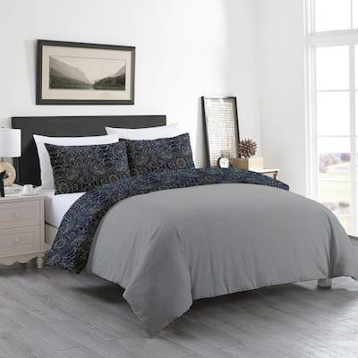 Delara GOTS Certified Reversible Print 3-Piece Monique Grey Damask 100% Organic Cotton King Duvet Cover Set