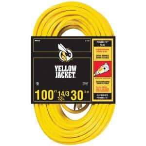 100 ft. 14/3 SJTW Outdoor Heavy-Duty 13 Amp Contractor Extension Cord with Power Light Plug