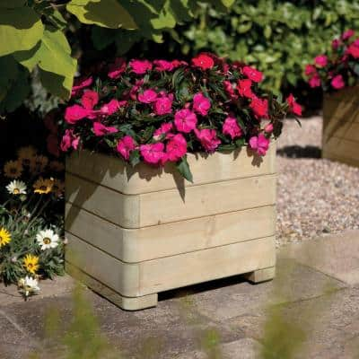 English Garden 20 in. x 15 in. Square Wood Planter
