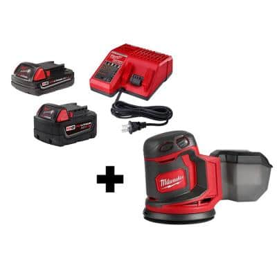 M18 18-Volt Lithium-Ion Cordless 5 in. Random Orbit Sander with (1) 5.0 Ah, (1) 2.0 Ah Battery and Charger