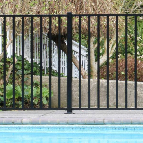 Peak Aquatine 2 In X 2 In X 4 18 Ft Black Aluminum Hard Surface Pool Fence Post 56003 The Home Depot