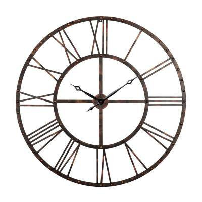 Rivet Roman Industrial Oversize Wall Clock, Antique bronze, 43.5""