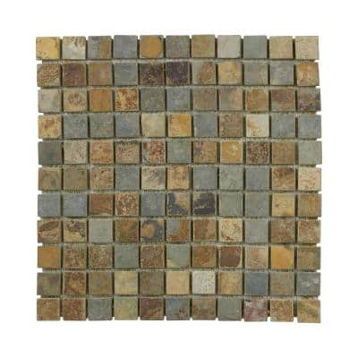 Slate Green 11.75 in. x 11.75 in. Textured Square Slate Wall and Floor Mosaic Tile (0.958 sq. ft./Each)