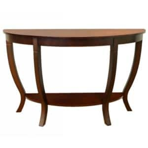 Lewis 48 in. Mahogany Half Moon Wood Console Table with Storage