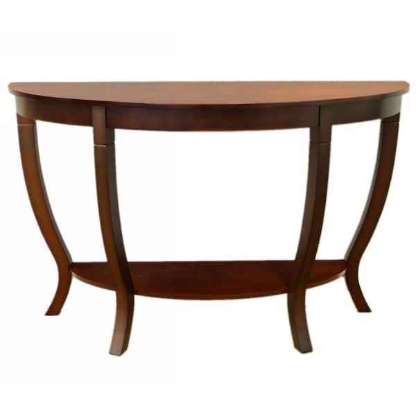 Mahogany Half Moon Wood Console Table, Half Moon Furniture