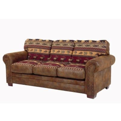 Sierra Lodge 88 in. Brown/Red Pattern Microfiber 4-Seater English Rolled Arm Sofa with Nailheads