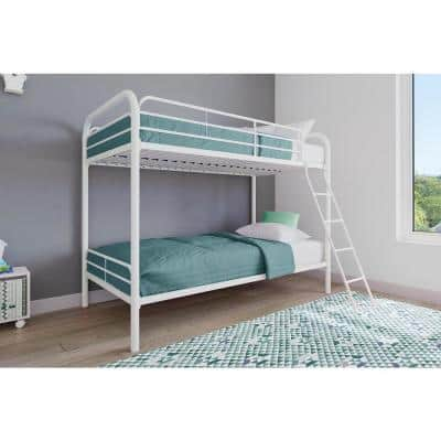 Elen White Twin Metal Bunk Bed