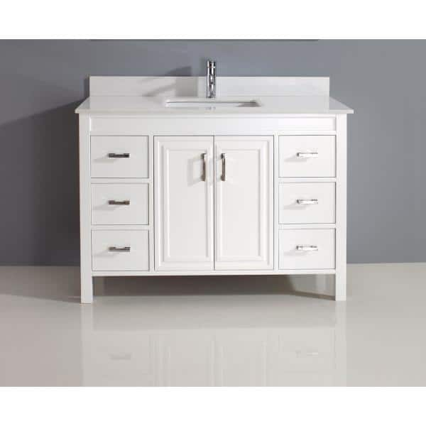 Studio Bathe Dawlish 48 In Vanity In White With Solid Surface Marble Vanity Top In White Dawlish 48 White Solid Surface The Home Depot