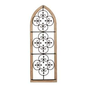 52 in. x 18 in. Brown Wood Traditional Wall Decor