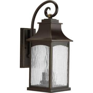 Maison Collection 2-Light Oil Rubbed Bronze Water Seeded Glass Farmhouse Outdoor Medium Wall Lantern Light