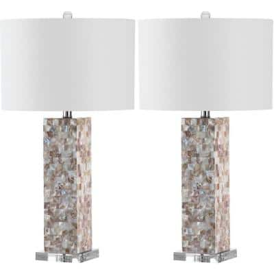 Jacoby 28.9 in. Cream Shell Table Lamp with White Shade (Set of 2)