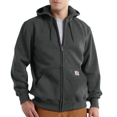 Men's Tall Extra Large Carbon Heather Cotton/Polyester Rain Defender Paxton Heavyweight Hooded Zip-Front Sweatshirt