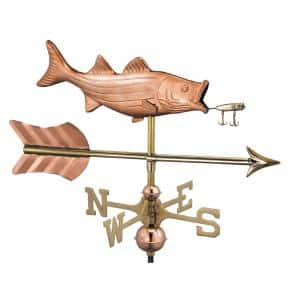 Bass with Lure and Arrow Garden Weathervane-Pure Copper with Garden Pole