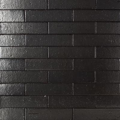 Queen Brick Metallic Black 2.5 in. x 9 in. 11mm Polished Clay Wall Tile (30 pieces / 4.63 sq. ft. / box)