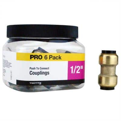 1/2 in. Brass Push-To-Connect Coupling Pro Pack (6-Pack)