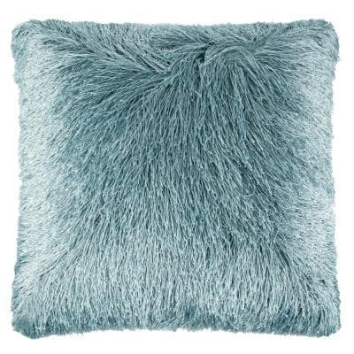 Soleil Shag Blue Square Outdoor Throw Pillow