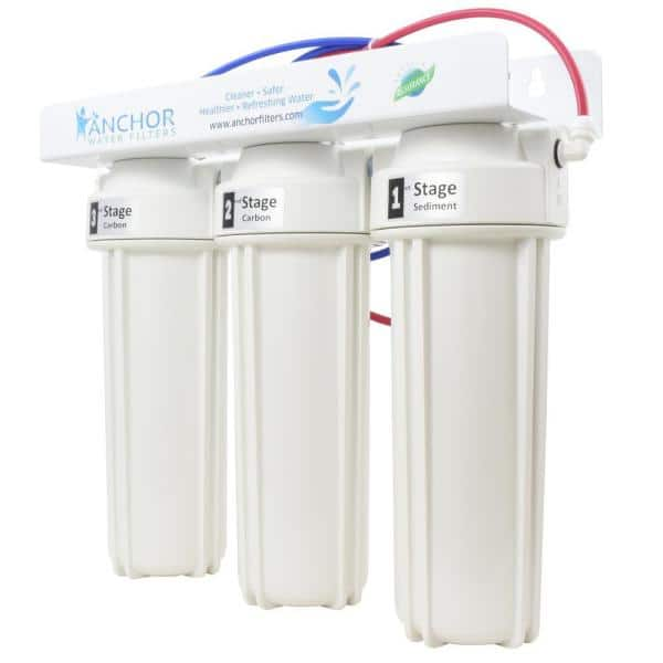 Anchor Premium 3-Stage Under Counter Water Filtration System with Dual Carbon Blocks and Designer Faucet