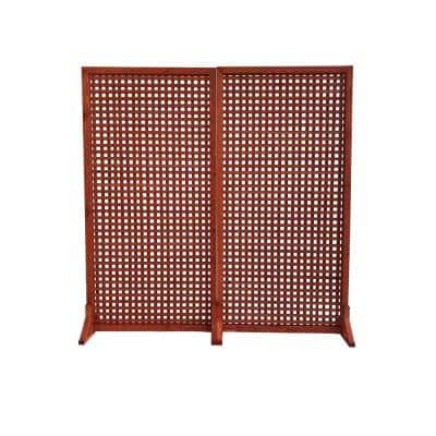 Solid Wood Privacy Screen Room Divider with Wood Stand, Red, 36 in. W x 72 in. H/ (Set of 2)