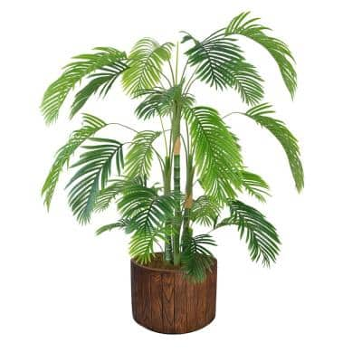 Artificial Faux Real Touch 6.42 ft. Tall Palm Tree with Fiberstone Planter