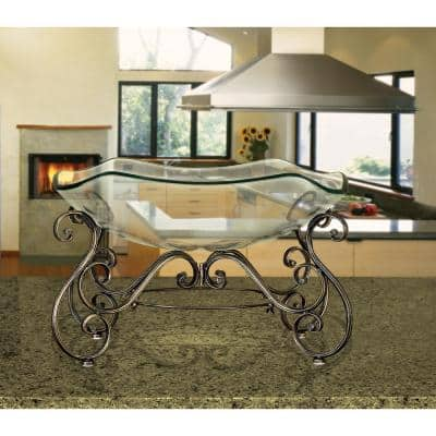 Decorative Bowl and Metal Stand in Wrought Iron