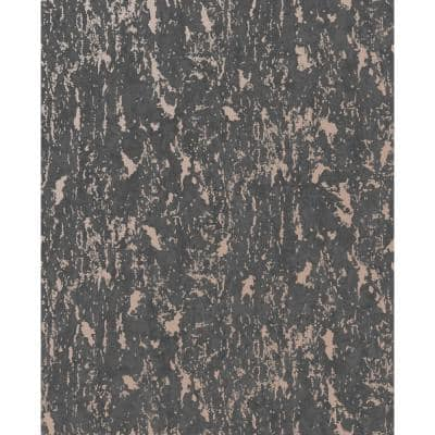 Milan TextuRed Plain Charcoal/Rose Gold Paper Peelable Roll (Covers 56 sq. ft.)