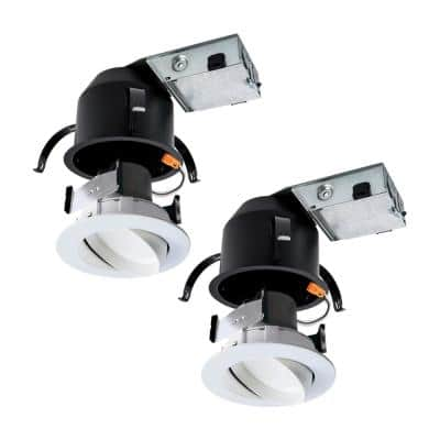 RA 4 in. (2-Pack) Remodel Ceiling Housing and (2-Pack) Dimmable White Integrated LED Recessed Spotlight Kit
