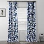 Fleur Blue Floral Rod Pocket Room Darkening Curtain - 50 in. W x 96 in. L