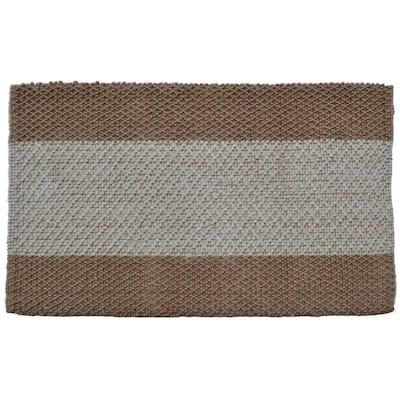 Jute Mat Wide Stripes 36 in. x 24 in. Natural Jute Door Mat