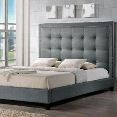 Hirst Transitional Gray Fabric Upholstered King Size Bed