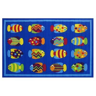 Fun Time Fish Tank Blue 2 ft. x 2 ft. Area Rug