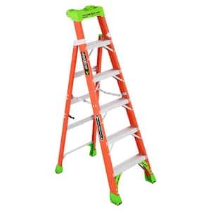 Cross Step 6 ft. Fiberglass Leaning Step Ladder (10 ft. Reach), 300 lbs. Load Capacity, Type IA Duty Rating
