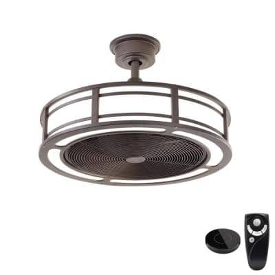 Brette II 23 in LED Espresso Bronze Ceiling Fan with Light and Remote Control works with Google and Alexa