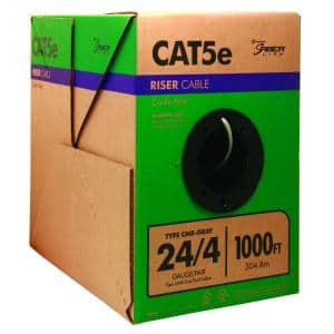 1,000 ft. 24/4 Solid CU CAT5e CMR (Riser) Data Cable in Gray