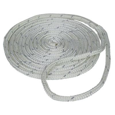 3/8 in. x 15 ft. Reflective Dock Line Double Braid Nylon Rope, White
